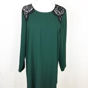 CeCe Cynthia Steffe Green Shift Dress Lace sz. M